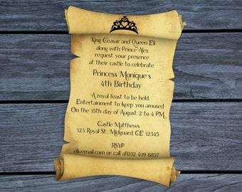Personalized Royal Crown Scroll Birthday Card Invitation Printable
