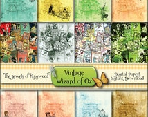 Wizard of OZ Vintage Paper - Wizard of Oz Digital Papers - Printable Papers - Scrapbook Papers - Wizard of OZ Art - Instant Download