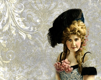 Shabby Chic Decor, Boho Art, Bohemian Print, Vintage Portrait, Vintage Photos, Womans Portrait, Victorian Decor, Victorian Print, Damask Art