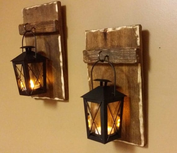 Mini rustic wood candle holder with lantern 10 x for Rustic wood candle holders