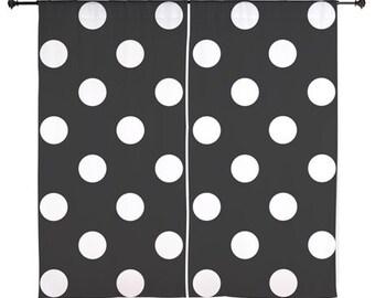 Chiffon Curtains - Polka Dot Curtains - Sheer Curtains - Black and White Polka Dots - Dorm Room Curtains - Teen Curtains - Girls Curtains