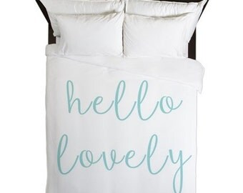 Girls Room Decor, Hello Lovely, Duvet Cover, Tween Girls, Girls Duvet Cover, Teen Room Decor, Girls Bedding, Aqua, Girls Twin Bedding, Queen