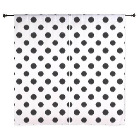 chiffon curtains black and white polka dots teen decor. Black Bedroom Furniture Sets. Home Design Ideas