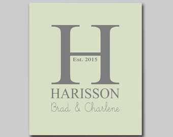 Family Name Sign, Monogram, Wedding Gift, First Anniversary Gift, New Home Gift, Available in Any Color