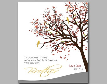 Brother Gift - Birthday Gift - Personalized Art Print - New Home Gift - Add Any Wording of Your Choice - Available in Any Color