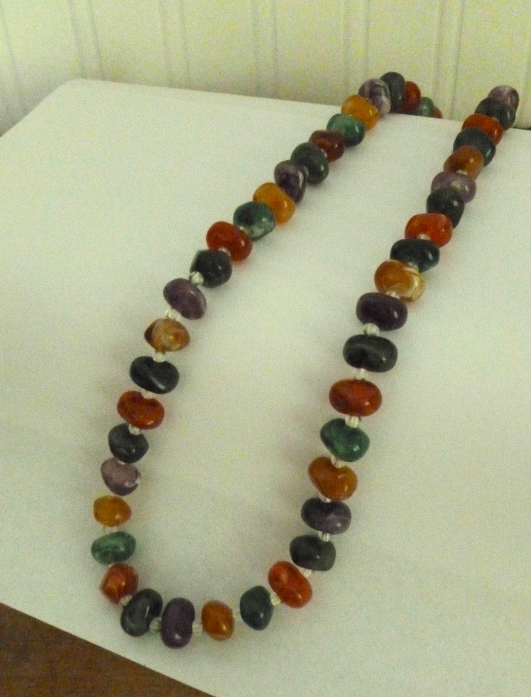 vintage multi color bead necklace colorful plastic