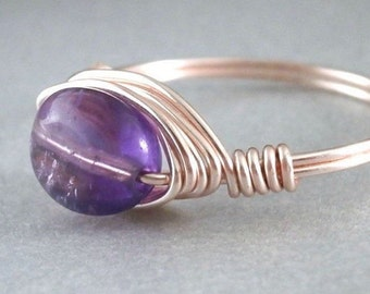 Purple Amethyst Ring Rose Gold Wire Wrapped Jewelry Handmade Purple Gemstone Wire Ring Amethyst Jewelry Simple Wire Wrapped Ring