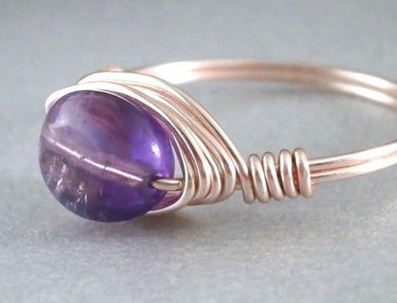Purple Amethyst Ring Rose Gold Wire Wrapped Jewelry Handmade