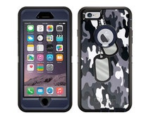 Apple iPhone 6 Otterbox Defender Nameplate on Black and White Camouflage (B-1926)