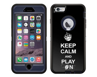 Apple iPhone 6 Otterbox Defender KEEP CALM And Play On - Football on Black (B-1798-B)