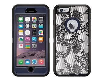 Apple iPhone 6 Otterbox Defender Black Leaves Lace on White (B-1859)