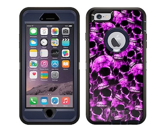 Apple iPhone 6 Otterbox Defender Purple Skulls on Black (B-718pr)