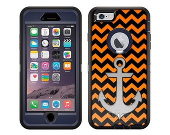 Apple iPhone 6 Otterbox Defender Anchor on Chevron Zig Zag Orange Black (B-849a-B)