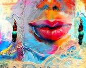 Boucle d'oreille coloré avec turquoise et nacre