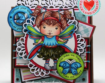 "Butterfly girl ""You make me happy"" card"
