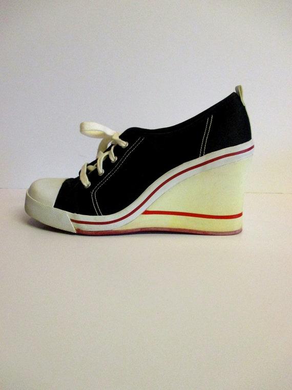 90s platform sneakers vintage wedge shoes converse style