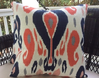 Duralee Pillow Cover in John Robshaw Fazil Lapis and coral-Handprinted Sulu Ikat Woven, Ivory Linen Backing