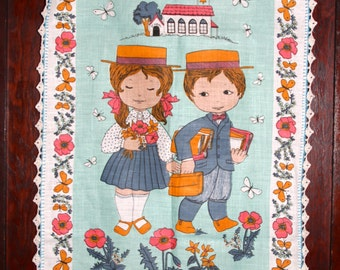 Vintage Retro Kitsch 1970's TeaTowel Cute young boy and Young girl