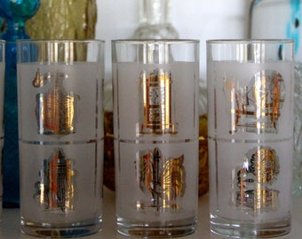 Vintage Highball Glasses / Frosted with Gold Tumblers / Vintage Barware / Mid Century Mad Man Style (5)