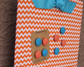 "Magnetic Board Magnet Board (24"" x 18"") Bulletin Board Large Orange Chevron Photo Display Board, Organization, Kid's room, Photo display"