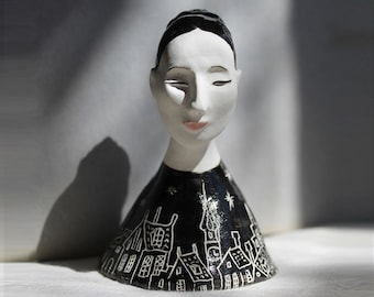 Lady Night Sculptured Ceramic Bell figurine,Unique pottery Bell hand painted, collectible ceramic bell woman, black and white clay bell