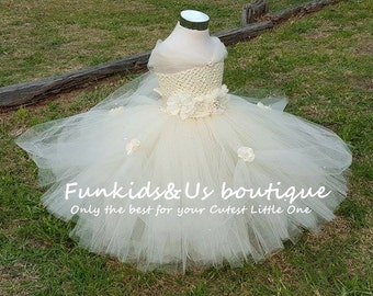 4PCS RESERVED ORDER Beautiful Ivory Princess Tutu gown with Rhinestone - Perfect for Weddings, Photo Shoots, etc