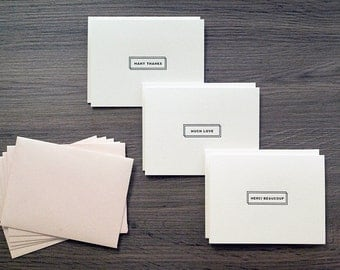 Parisian Stationery - Set of 6 letterpress cards with envelopes