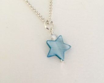 Blue star pendant,necklace,mother of pearl/shell star pendant silver plated chain,Star,beach jewellery,jewelry,gifts for girls,teens,women
