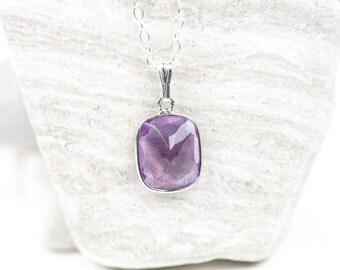 Amethyst Necklace, Green Purple gemstone Amethyst, Minimalist Jewelry