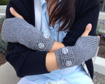 Fingerless Gloves / Mittens - With hand drawn Harry Potter inspired buttons