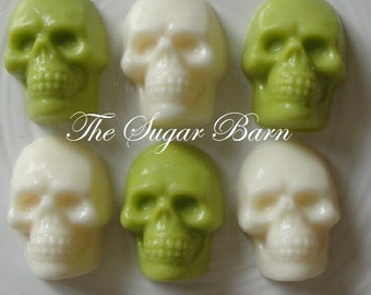 SKULL CHOCOLATE Cupcake Toppers*2 Dozen*Mummy*Halloween Party Favors*Zombie Favors*Trick or Treat*Candy Skull*Chocolate Skull