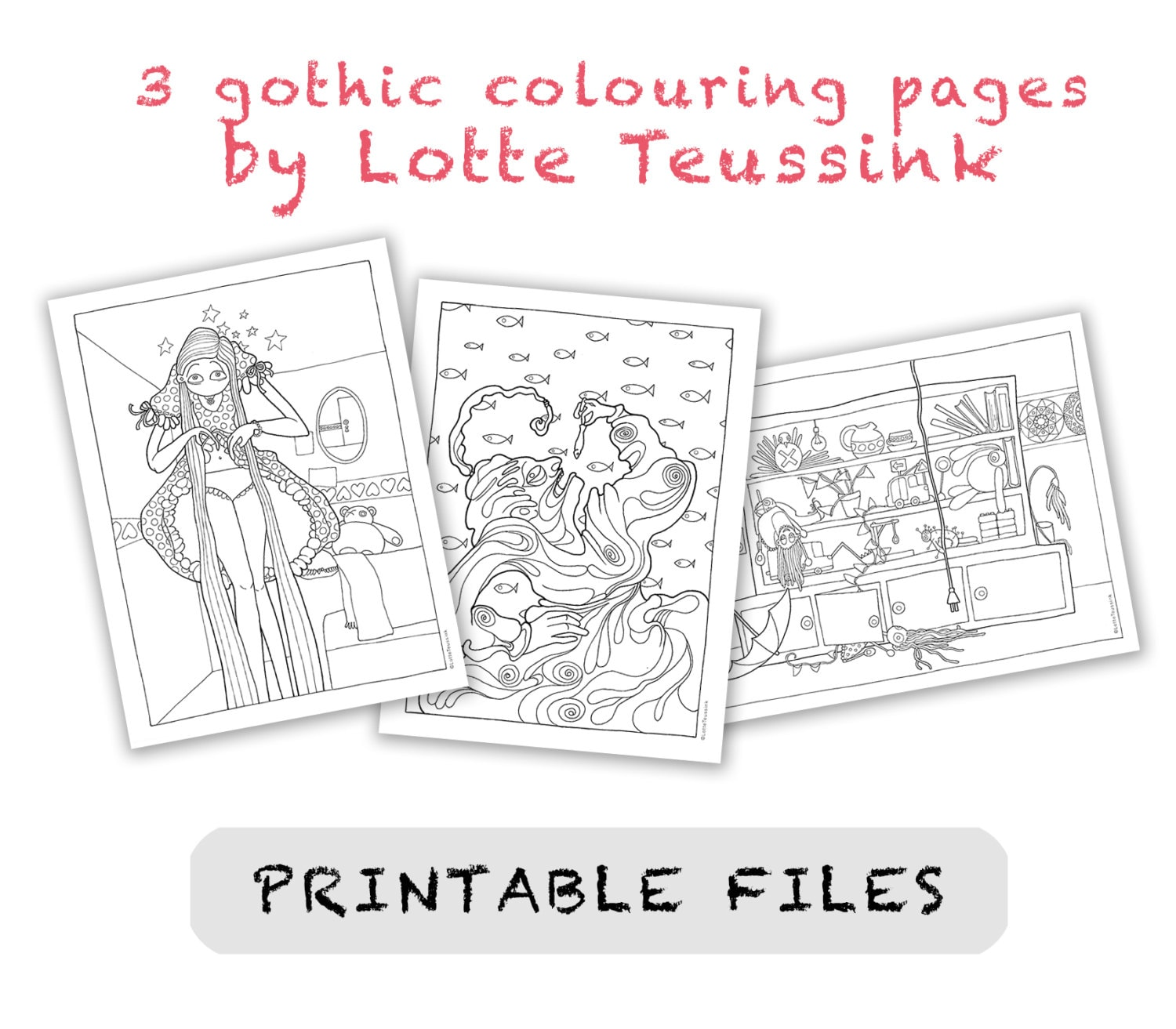 - 3 Gothic Colouring Pages, Adult Colouring Book Pages, Goth Art