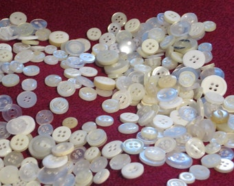 Assorted Small White Buttons, New Unused Shirt Buttons, Lot of New Plastic Laundry Buttons,100 grams Fasteners, Craft Buttons