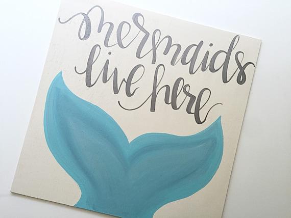mermaids live here mermaid sign home decor decor bathroom decor nursery - Mermaid Home Decor