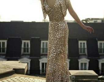 Reserved for lordlib - Custom made v neck full silver sequin gown with a-line flare and flutter sleeves