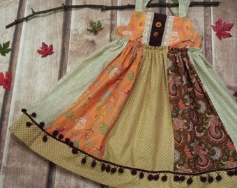 READY TO SHIP! Adorable Girls/Toddlers Peasant Ruffle Fall/Thanksgiving Dress