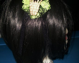Skeleton Hand Lace Hair Bow