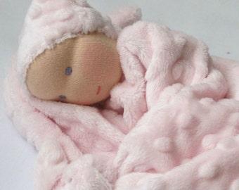 lovey minky blanket doll - 1st birthday gift- Waldorf first doll- knot doll -Pink plush toy - newborn gift