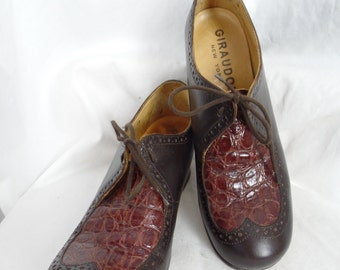 90s Giraudon New York alligator and leather chunky heel brogues/ round toe/menswear style: size US 39-fits 8-8.5US woman