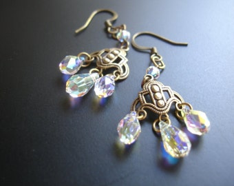 Antique brass filigree crystal earrings
