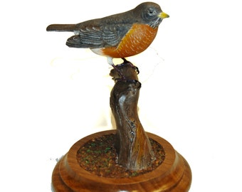 Robin Wood Carving bird carving hand carved bird figurine wood sculpture wood art anniversary gift bird sculpture heirloom carving bird gift