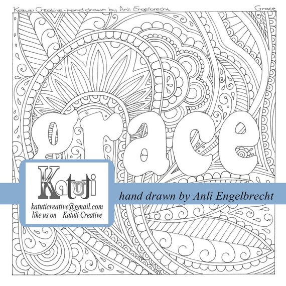 grace coloring page coloring pages for adults faith word grace instant download