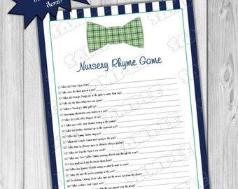 Bowtie Baby Shower Games Nursery Rhyme Game Printable INSTANT DOWNLOAD  UPrint By Greenmelonstudios Bowtie Bow Tie