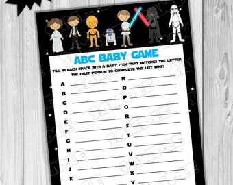 Starwars Baby shower games Star wars abc baby game Printable INSTANT DOWNLOAD  UPrint  by greenmelonstudios starwars baby shower