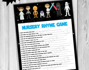 Starwars Baby Shower Games Star Wars Nursery Rhyme Game Printable INSTANT  DOWNLOAD UPrint By Greenmelonstudios Starwars
