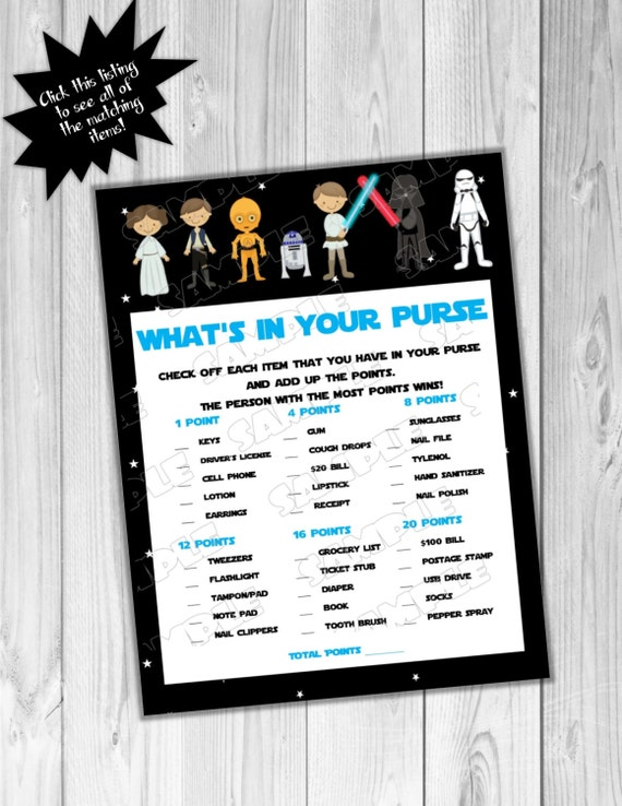 star wars baby shower games starwars what 39 s in your purse game