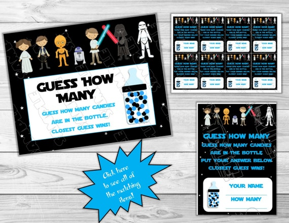 Star Wars Baby Shower Games Guess How Many Starwars Printable INSTANT  DOWNLOAD UPrint By Greenmelonstudios Starwars Baby Shower