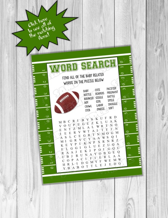 Football baby shower games word search game printable for Www uprint com templates