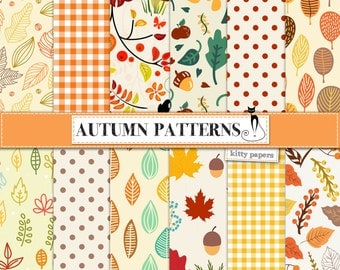 "Autumn digital paper : ""Autumn Patterns"" fall digital papers with leaves and acorns / orange and yellow digital papers / Halloween"