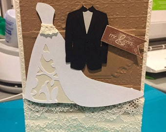 Vintage style Wedding Card
